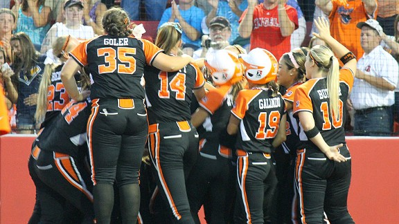 Chicago players celebrate after Shannon Doepking's two-run homer staked the Bandits to a 2-0 lead.