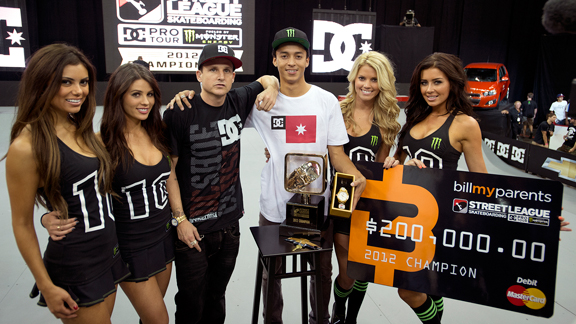 Nyjah Huston secured first place and the 2012 season title at Street League stop four in Newark, N.J.