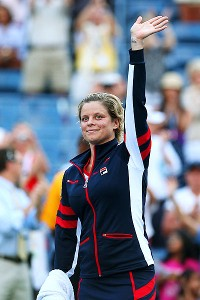Kim Clijsters acknowledges the U.S. Open fans at Arthur Ashe Stadium after her final singles match.