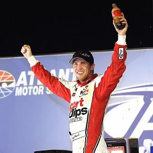 Denny Hamlin celebrates winning at Atlanta Motor Speedway for his second straight Sprint Cup victory.