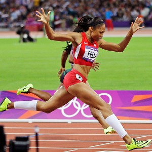 Allyson Felix, who captured gold in the 200 meters and in two relays in London, normally trains five hours a day.