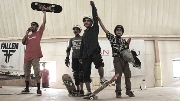 Nawab, 17 (shown here, center, after winning the 2012 Go Skateboarding Day contest at Skateistan's indoor skatepark in Afghanistan on June 21) was killed in a suicide bomb attack in Kabul on Saturday.