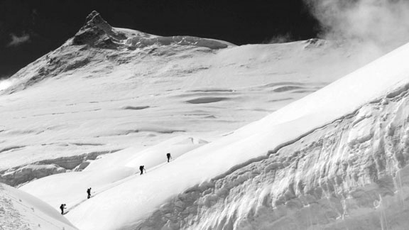 Greg Hill's group on a ski tour up Nepal's Mount Manaslu prior to the avalanche.