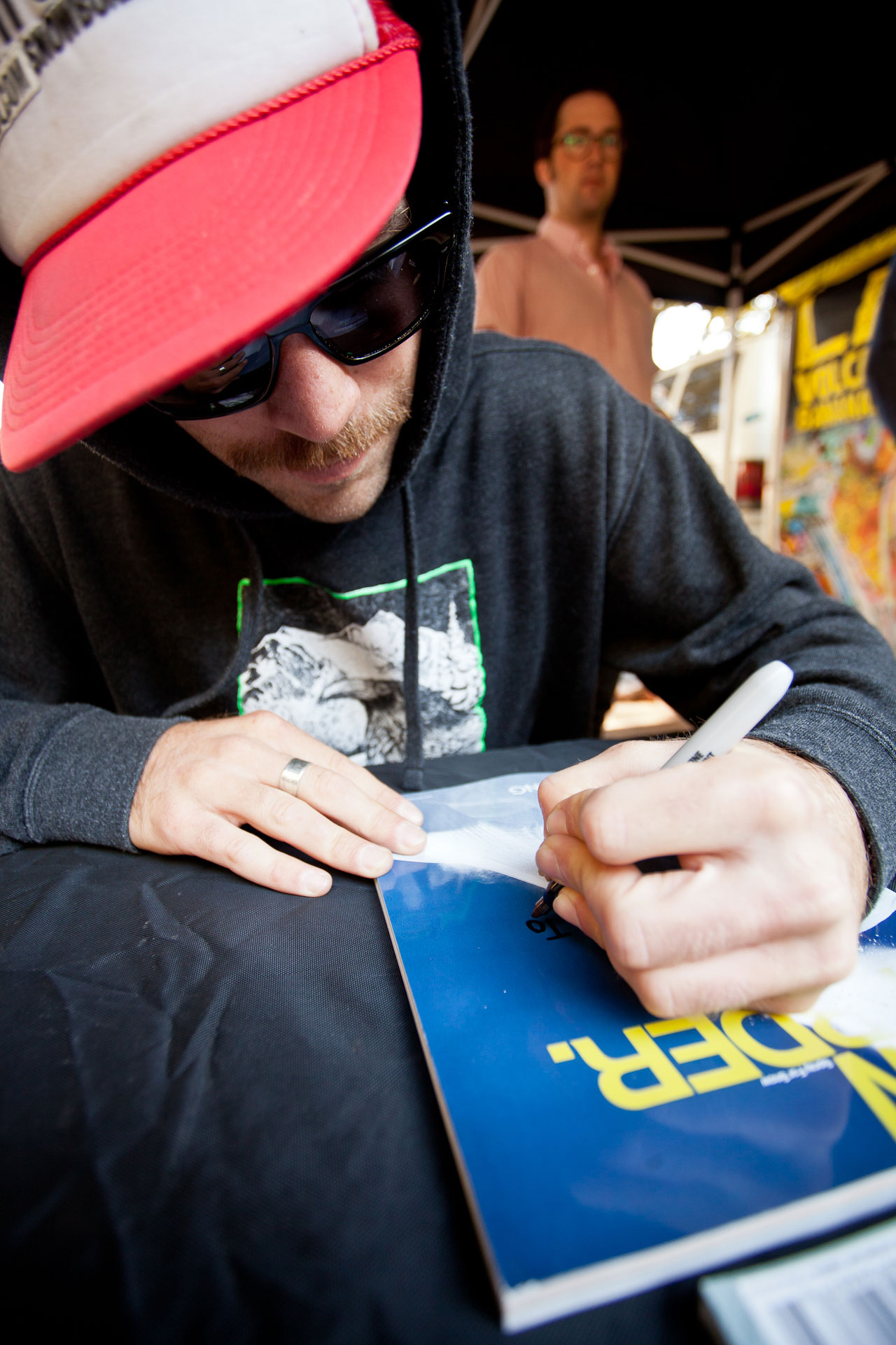 Various Northwest pros were here to hang out and sign some autographs for fans. Blair Habenicht decorates his recent cover of Snowboarder mag.