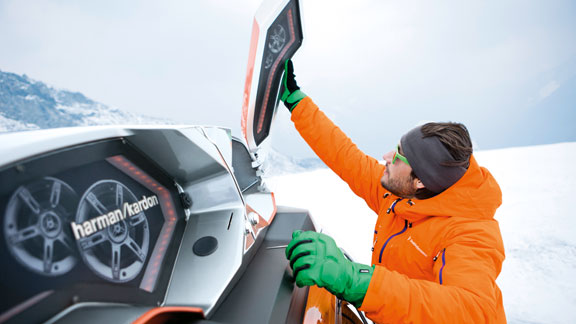 The BMW Powder Ride comes with roof-mounted speakers and a roof rack for skis.
