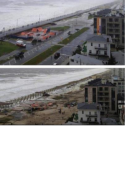 Rockaway Beach Skatepark before and after Hurricane Sandy.