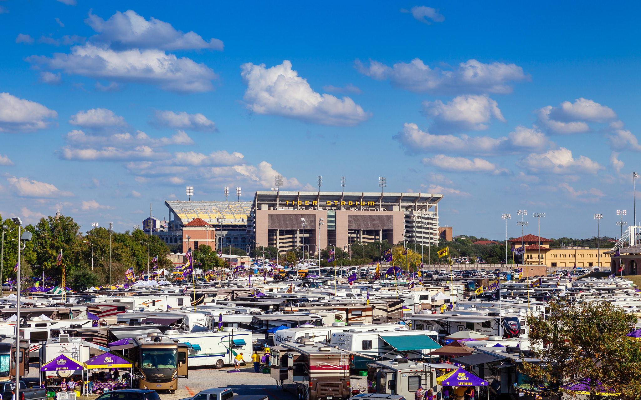 Tiger Stadium looms over the tailgate