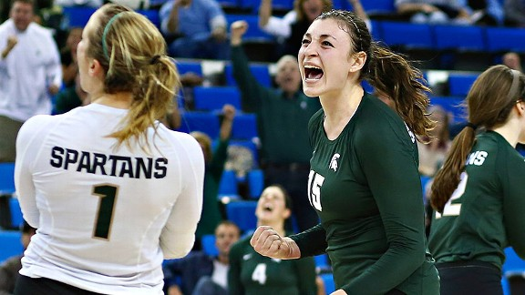 Lauren Wicinski and Michigan State stunned defending champion UCLA, and now will face archrival Michigan in Berkeley, Calif.