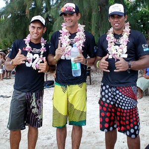 Steeve Teihotaata, center, was the winner of Sunday's IronMana.