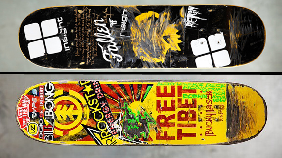 Jamie Thomas' board (top) with Bob Dylan's signature and 'Blowin' In The Wind' lyrics sold for 38,425 while Bucky Lasek's Adam MCA Yauch penned board sold for 35,000 during the BoardsBands eBay hosted auction.