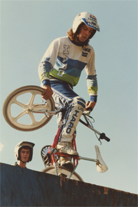 New England's Paul Delario, who invented the cherrypicker drop-in, was a factory Haro rider in the '80s.