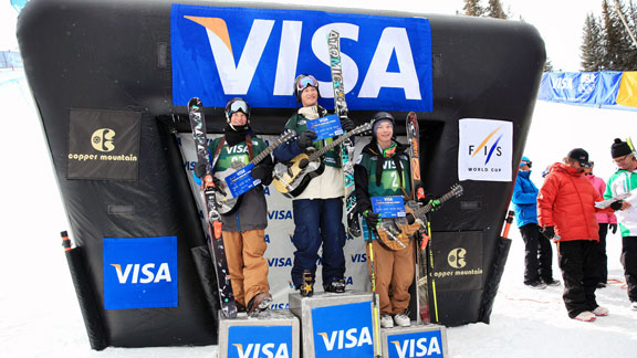 Mike Riddle, Aaron Blunck and David Wise on the men's ski halfpipe podium at Grand Prix.