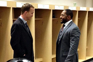 Peyton Manning took his family into the Ravens' locker room after a 38-35 double-overtime loss to visit with Ray Lewis.