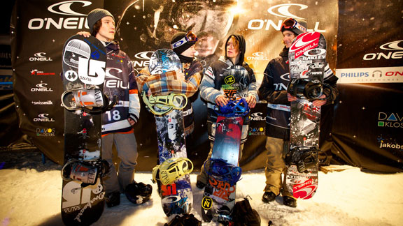 The men's big air podium in Davos: Maxence Parrot, Kyle Mack, and Emil Ulsletten.