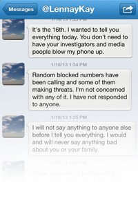 Twitter messages Te'o says he received this week from Tuiasosopo.