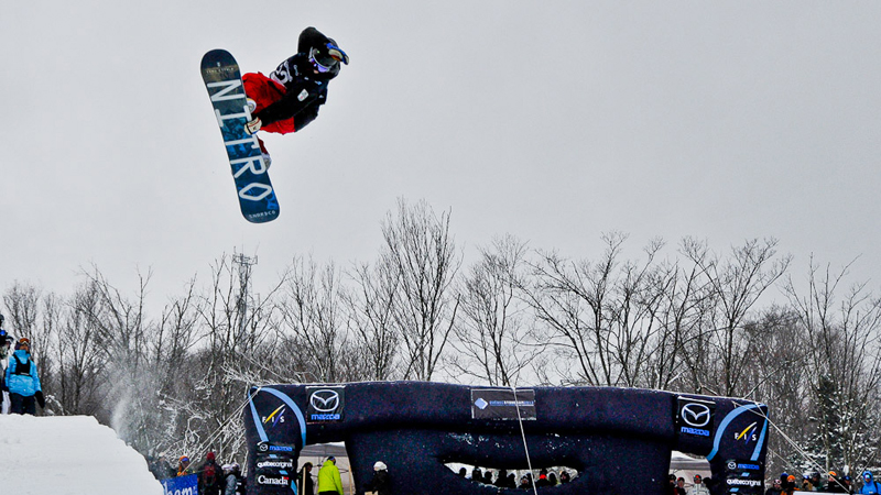 Holly Crawford, on her way to taking second at the 2013 FIS Snowboard World Championships.