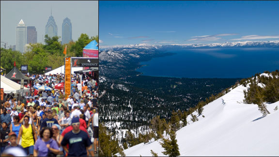 Philadelphia (left) and Lake Tahoe (right) are on the list of potential new X Games sites.