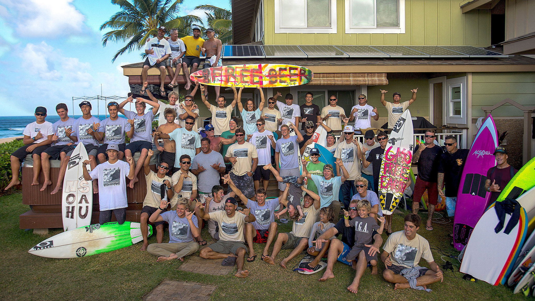 Amassing for Herbie Fletcher's Wave Warrior group photo brought some of the world's best surfers together on the North Shore this winter.