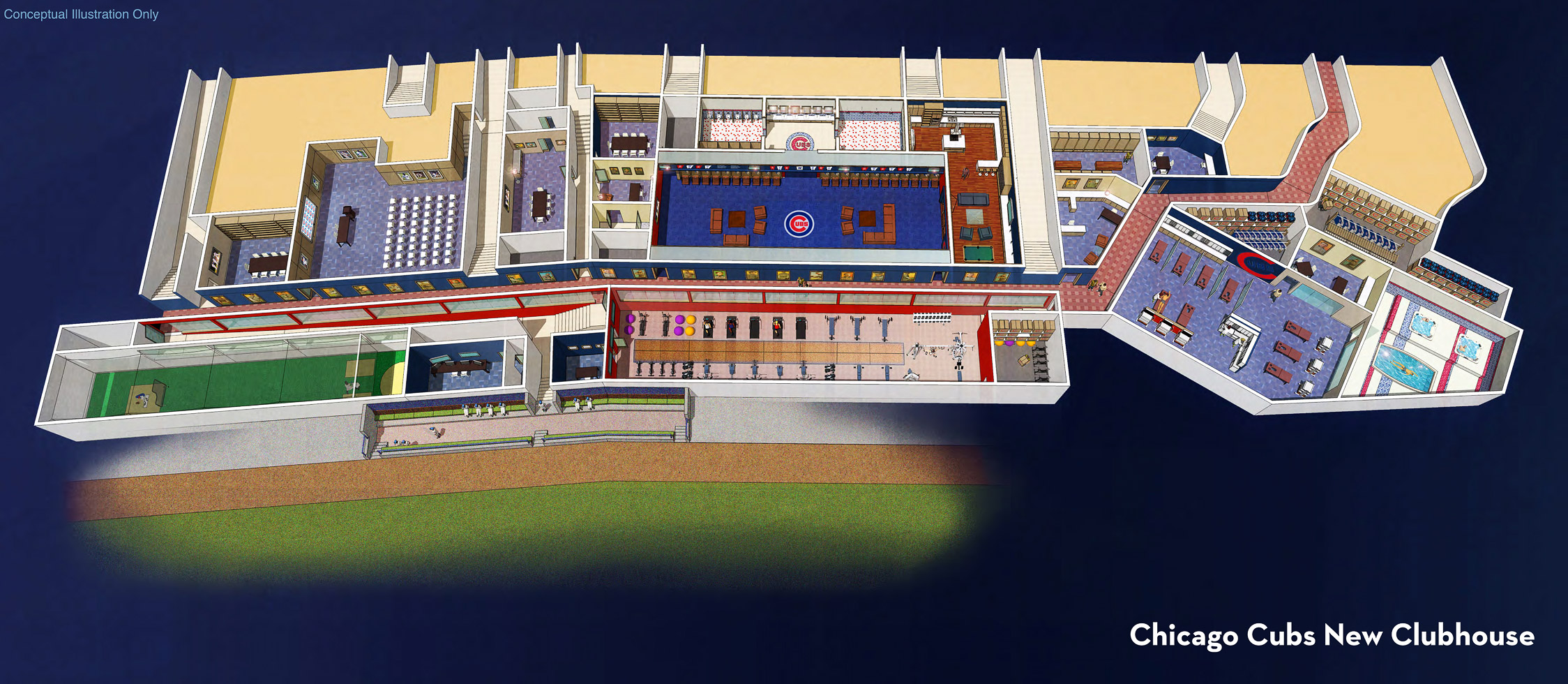 Wrigley Renderings - Clubhouse Overview