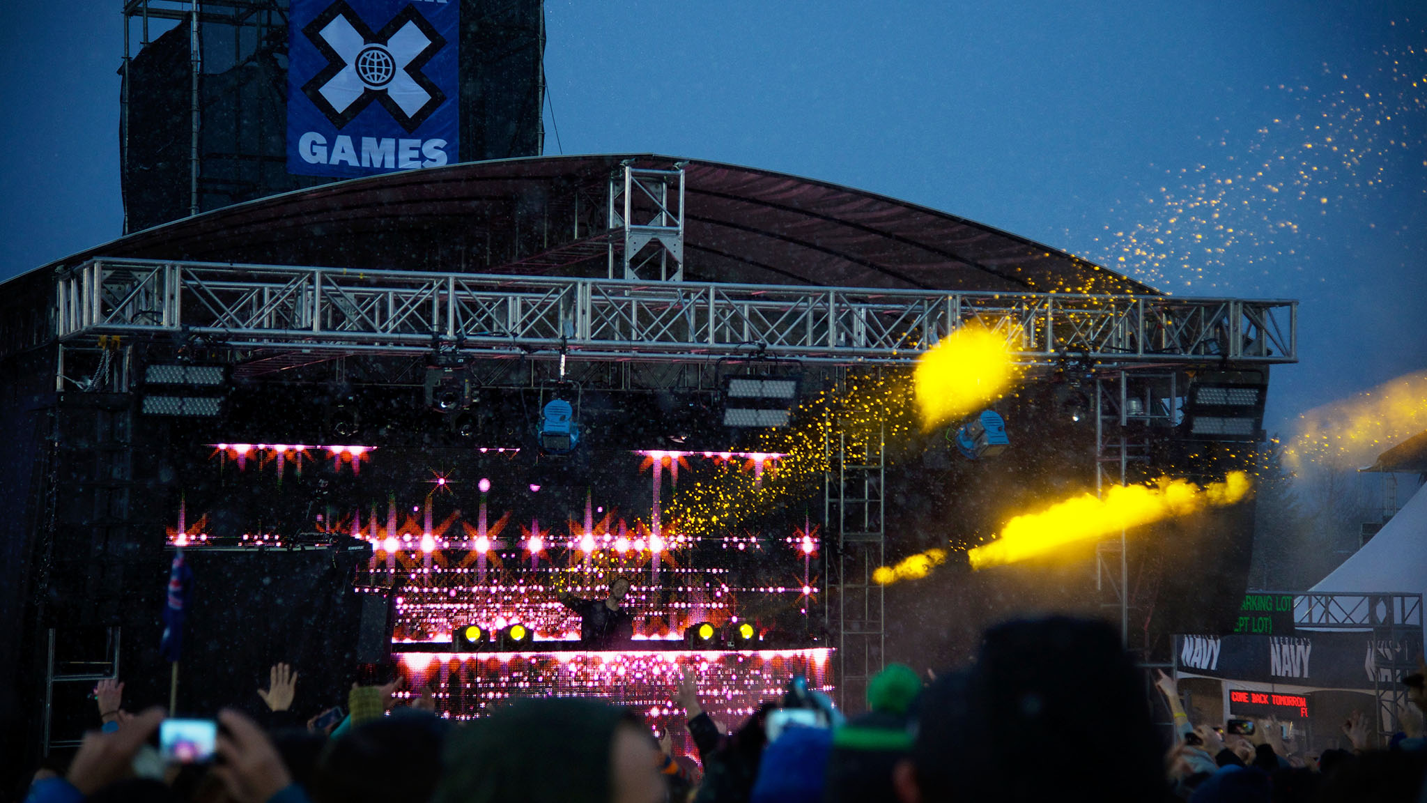 A light snowfall brought the magic for the Calvin Harris X Games MUSIC show at X Games Aspen Saturday afternoon.