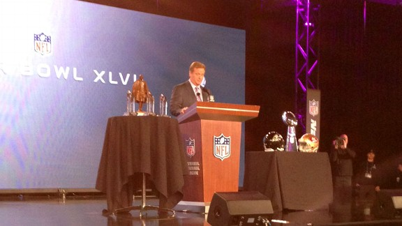 My view for the Roger Goodell (aka the Commish) news conference.