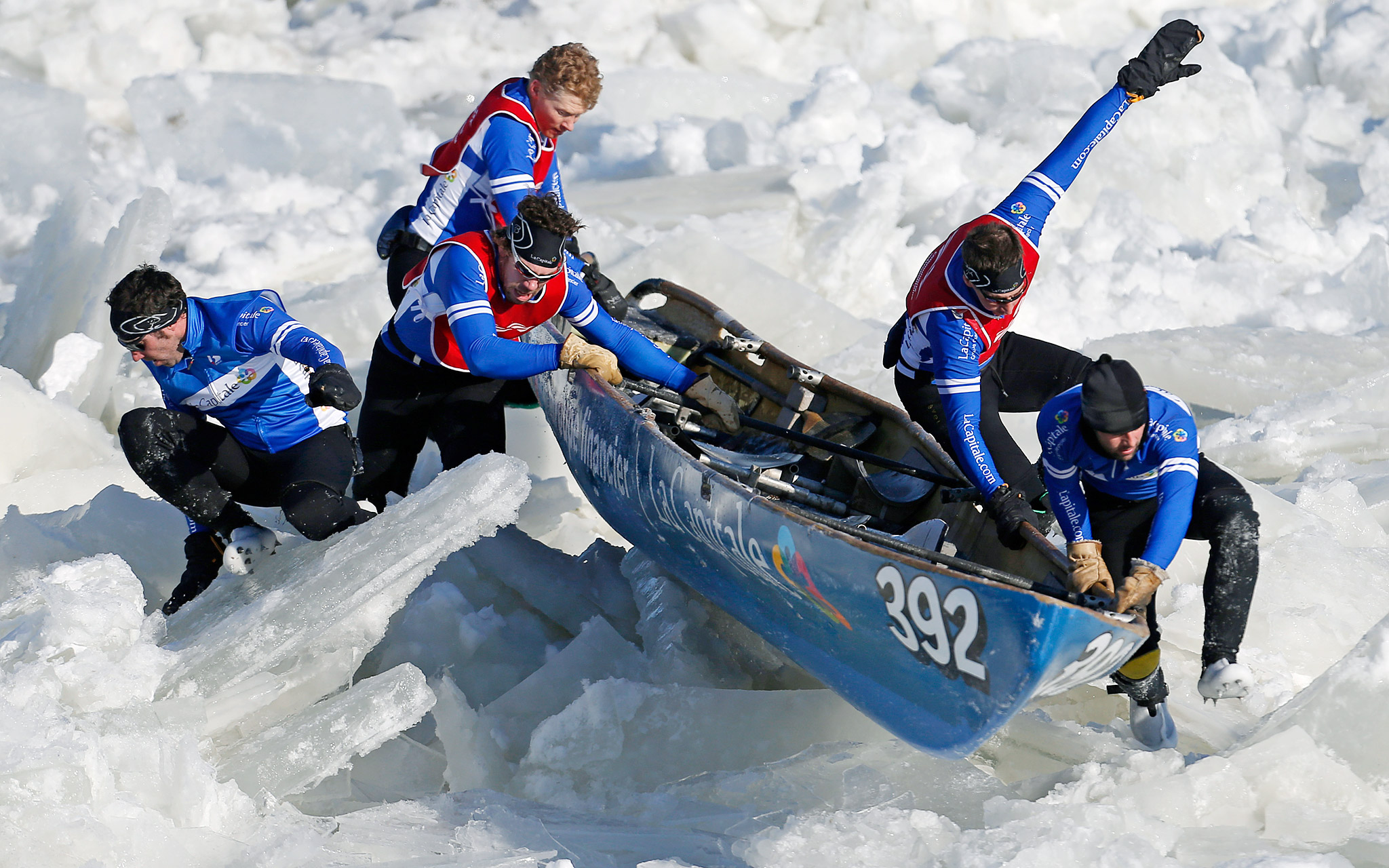 Quebec Winter Carnival ice canoe race