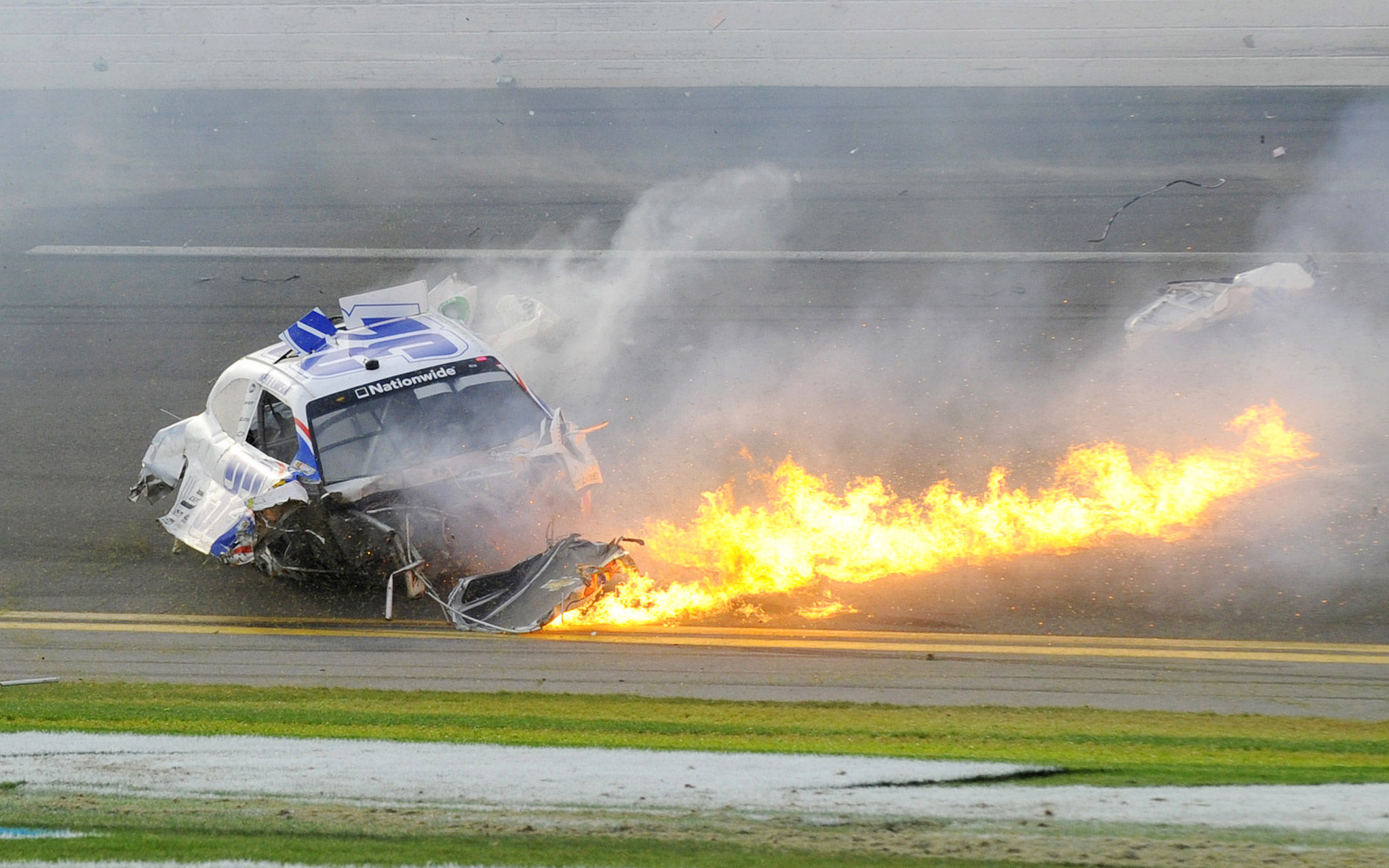 Kyle Larson's car on fire