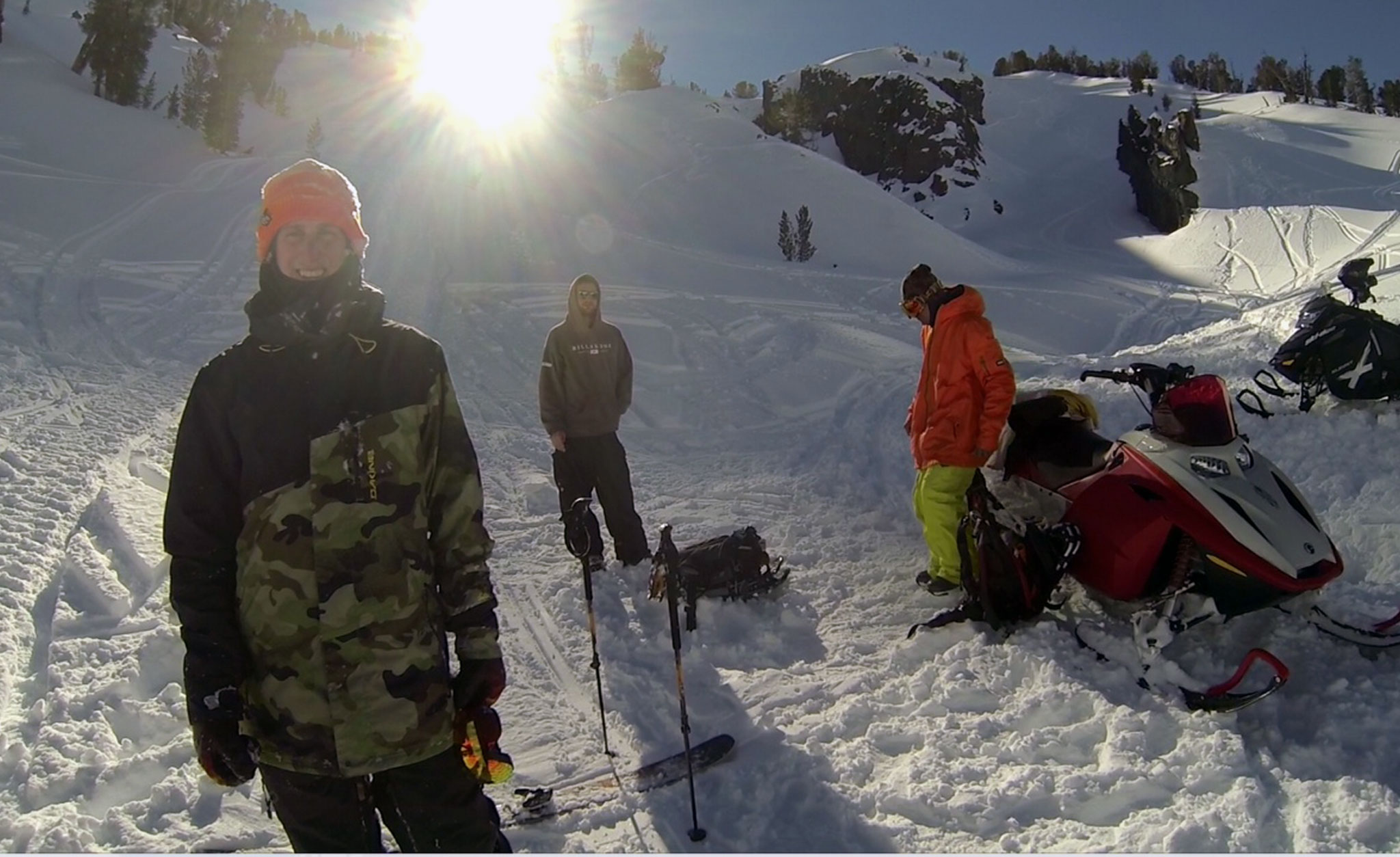 Chris Benchetler filming his video part for the debut of X Games Real Ski Backcountry.