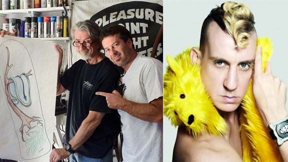 Santa Cruz Skateboards' father-and-son graphic-design team Jim and Jimbo Phillips, left, and fashion designer Jeremy Scott, right, settled out of court last week over copyright infringement.