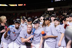 Chiney Ogwumike, far left, and her Stanford teammates celebrate the Pac-12 tournament championship.