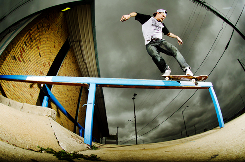 Cody McEntire backside Smith grinds in the heart of Texas.
