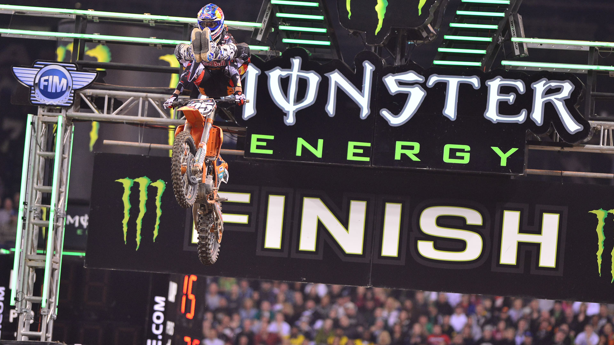 Marvin Musquin heelclicker on his way to first place in the 250 class at Indianapolis.