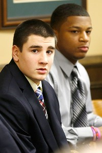 Trent Mays, left, and Ma'Lik Richmond were sentenced Sunday to at least a year in juvenile jail after being found guilty of raping a drunken 16-year-old girl.