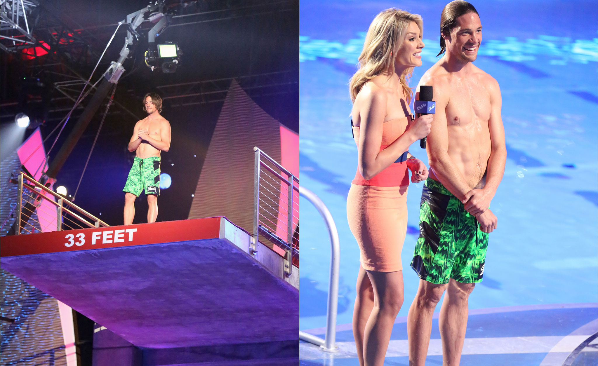 Skier Rory Bushfield (and host Charissa Thompson) on set of Splash, which premiered last week.