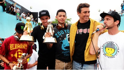 From left- Nyjah Huston, Luan Oliveria, Chaz Ortiz, Lance Mountain and Brian Schaefer.