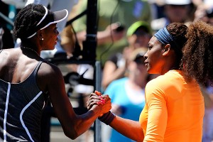 Serena (right) claimed the most one-sided victory in the Williams sisters' rivalry Saturday, routing Venus 6-1, 6-2.