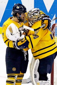 Quinnipiac cruised past St. Cloud State 4-1 on Thursday in the NCAA hockey semifinals and will play in-state rival Yale in the final Saturday.