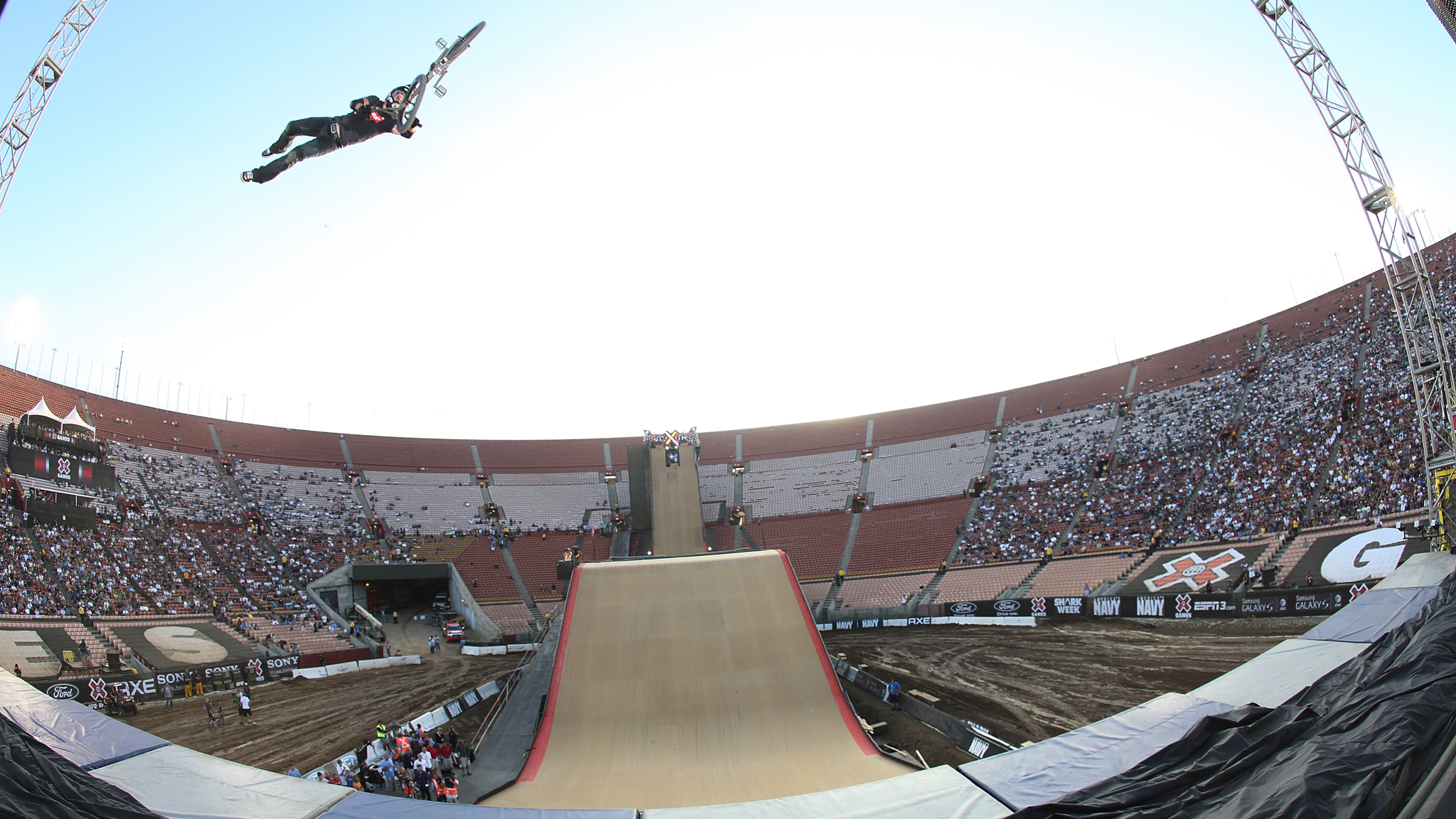 BMX Big Air competitor Morgan Wade, double tailwhip air at X Games 16 in 2010.