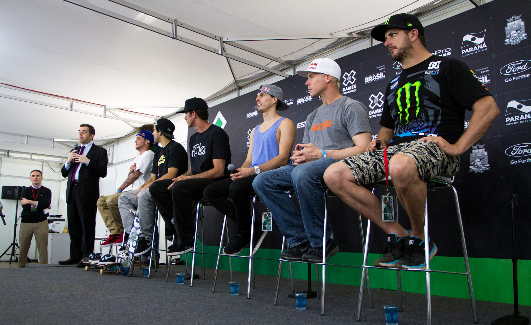 From left to right, Ryan Sheckler, Paul Rodriguez, Bob Burnquist, Daniel Dhers, Kevin Robinson and Ken Block during the press conference that opened X Games Foz do Iguau.