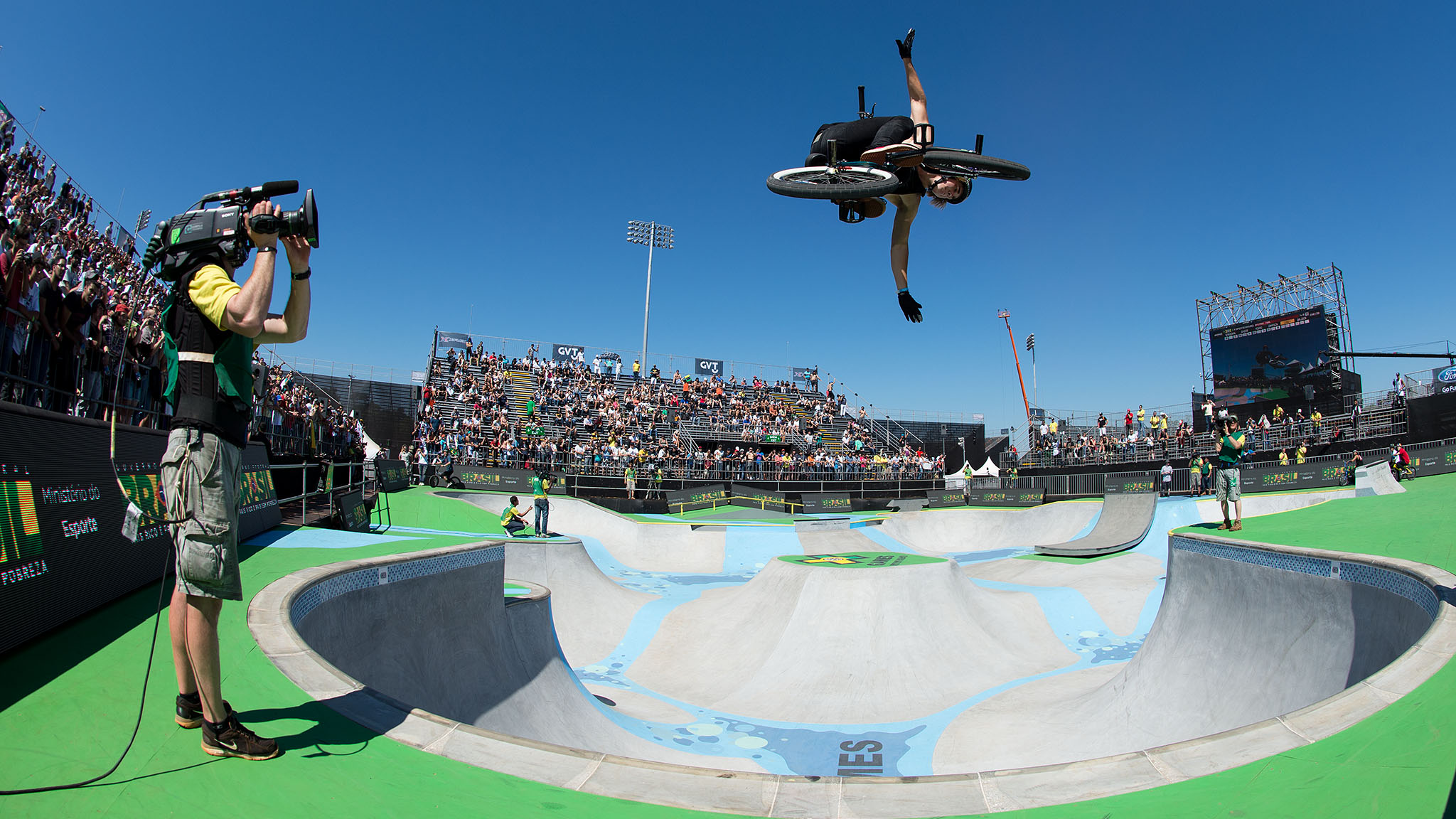 Haro BMX pro Pat Casey traveled to X Games Foz to compete in BMX Park. Between technical variations and burly airs such as this no-hander in the deep bowl, Casey was able to achieve a silver medal in BMX Park at X Games Foz, his best X Games finish to date.