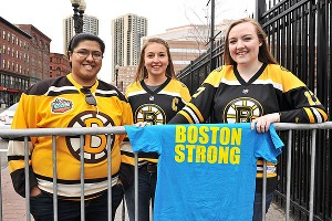 Fans show up with the Boston Strong T-shirts before the Bruins game against the Penguins at TD Garden.