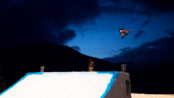 Kim Rune Hansen spins his way to second place in the WSSF big air contest.