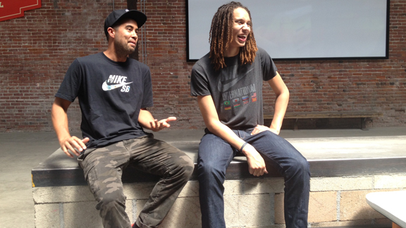 Nike teammates Eric Koston and Brittney Griner at the Sixth and Mill skatepark in Los Angeles.