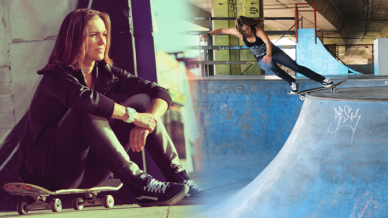 Not only does Knoop have five X Games Vert medals, she's won the Pro-tec Pool Party twice.