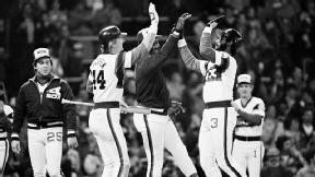 Harold Baines hit a solo home run in the 25th inning to give the White Sox the 7-6 win.