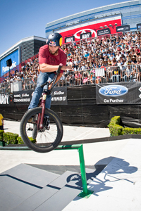 Barspin to backwards crooked grind to revert out at X Games Los Angeles 2012.