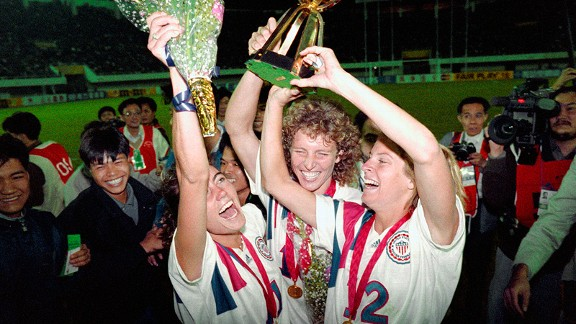 Julie Foudy, left, stained her 1991 World Cup jersey with champagne, so her mom threw it away.