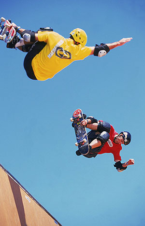Andy Macdonald and Tony Hawk pair up in the halfpipe in San Francisco in 2000. While Hawk has voluntarily stopped riding competitively, Andy Macdonald remains one of the last four athletes who have competed in every X Games.