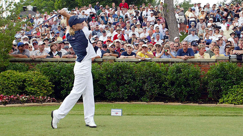 With 89 worldwide wins and 72 LPGA titles, Annika Sorenstam is widely considered one of the greatest women to ever play golf. The Swedish-born golfer was named the Rolex Player of the Year a record eight times and held the lowest seasonal scoring average six times in her 14 years on the LPGA Tour. Sorenstam won 10 majors and earned a record 22 million in her career. In 2003, she made history at the Colonial tournament when she became the first woman to play in a PGA Tour event since Babe Didrikson Zaharias in 1945. She missed the cut after shooting 5 over par after the first two rounds but set the stage for other women to follow in her footsteps.
