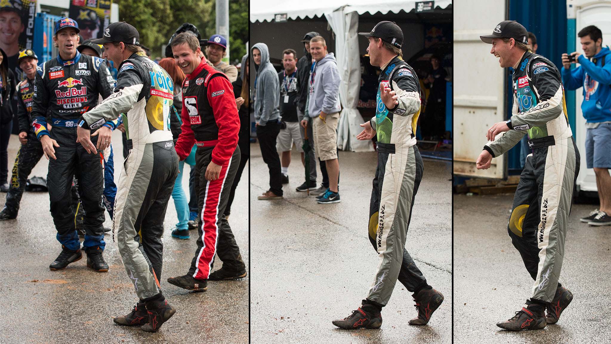 With hours of rain delays on the RallyCross course, drivers had to come up with ways to amuse themselves while waiting for the official call. Scott Speed continued his rock, paper, scissors losing streak against Travis Pastrana and had to moonwalk across the Rally paddock because of it.